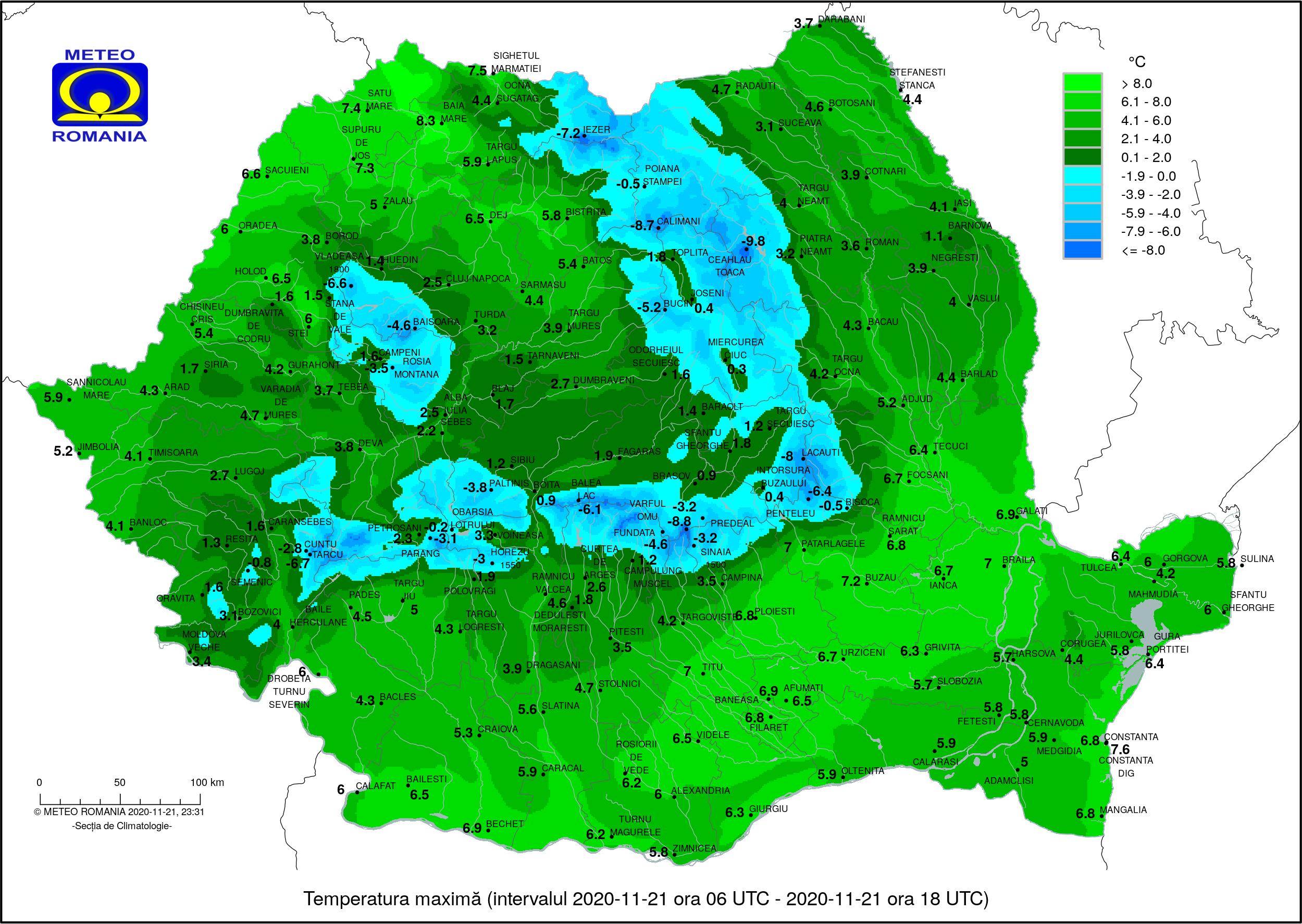 Masă de aer polar, în România. Oraşul unde temperatura a coborât la -11 grade