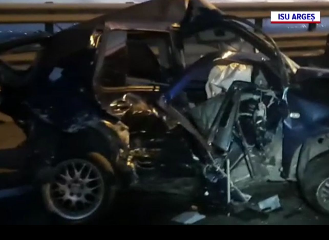 Carambol pe Autostrada București-Pitești. S-au ciocnit zece mașini