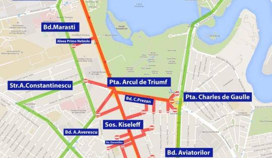 Restricții de trafic în București, de Ziua Națională. Ce străzi se vor închide