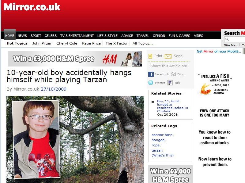 Un baiat de 10 ani a murit spanzurat in timp ce se juca de-a Tarzan!