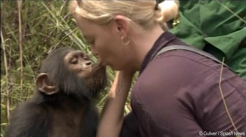 Admirator infocat! Un cimpanzeu a sarutat-o pe Charlize Theron