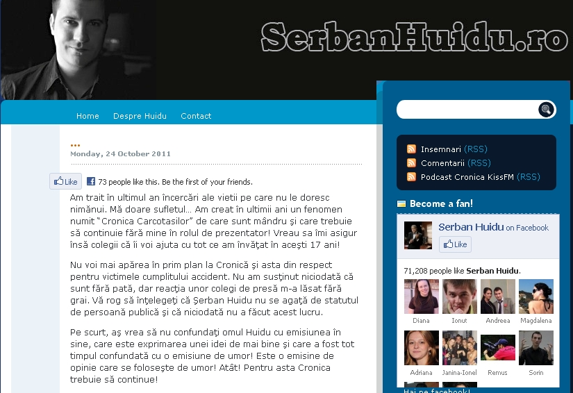 Primul mesaj public al lui Serban Huidu, dupa accident: