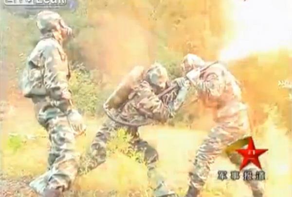 Un cuib urias de viespi ucigase distrus cu un aruncator de flacari, de militari chinezi. VIDEO