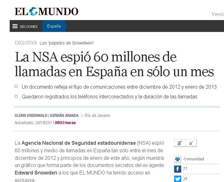 El Mundo: Statele Unite au spionat peste 60 de milioane de comunicatii in Spania