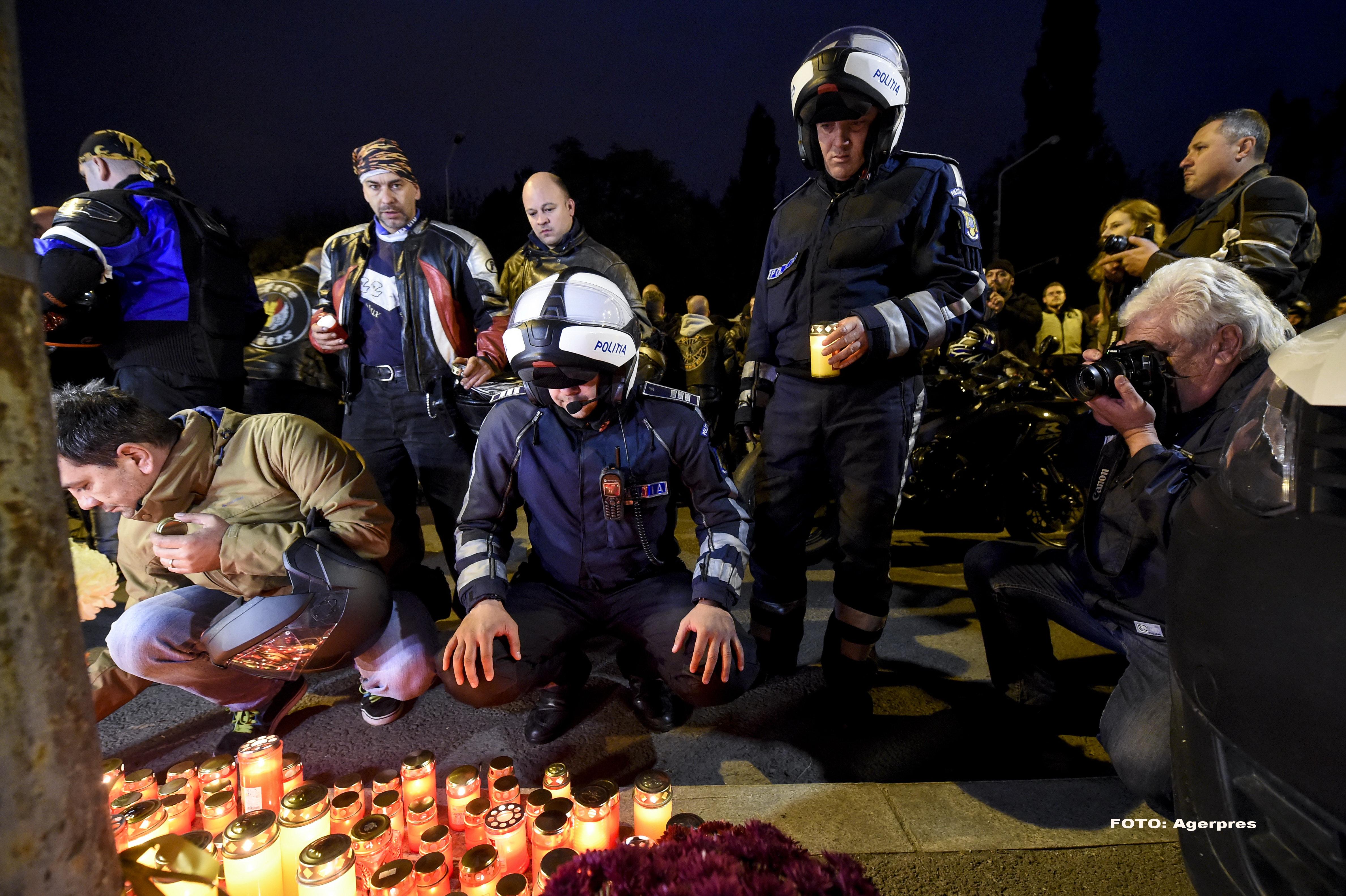 Aproximativ 500 de motociclisti s-au adunat intr-un mars al tacerii, in memoria politistului mort. Oamenii vor raspunsuri