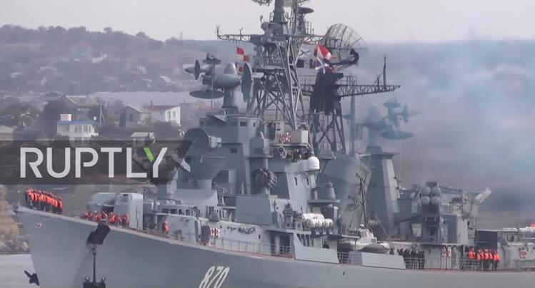 Rusia a trimis un distrugator, puternic inarmat, din Crimeea catre Siria. VIDEO