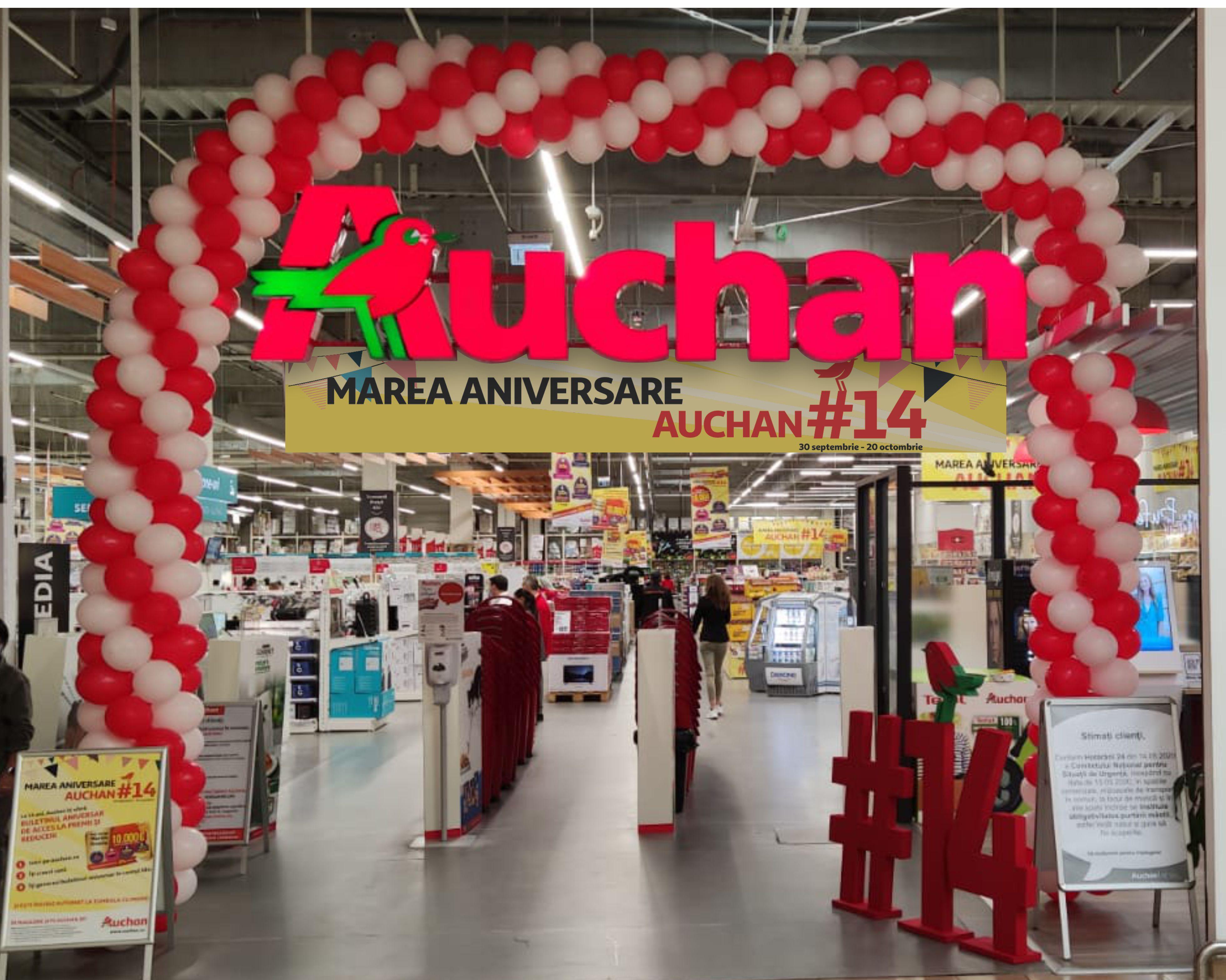 (P) Ce trebuie să faci ca să câștigi 10.000 de euro la Auchan. Retailerul sărbătorește 14 ani în România