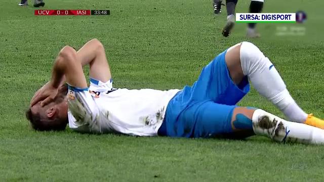 VIDEO. Accidentare oribilă în meciul Universitatea Craiova - Poli Iași. Koljic a urlat de durere