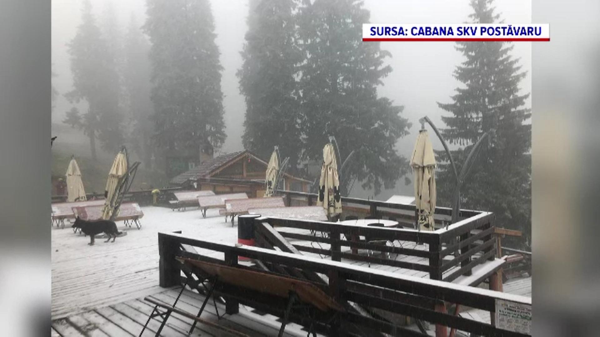 A căzut prima zăpadă în masivul Postăvaru din Poiana Braşov