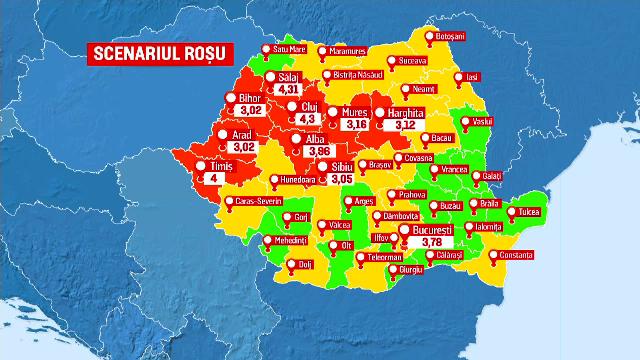 Harta ţării devine tot mai roşie. În ciuda tratamentului, Sars-Cov-2 devine tot mai rezistent. Situația din spitale
