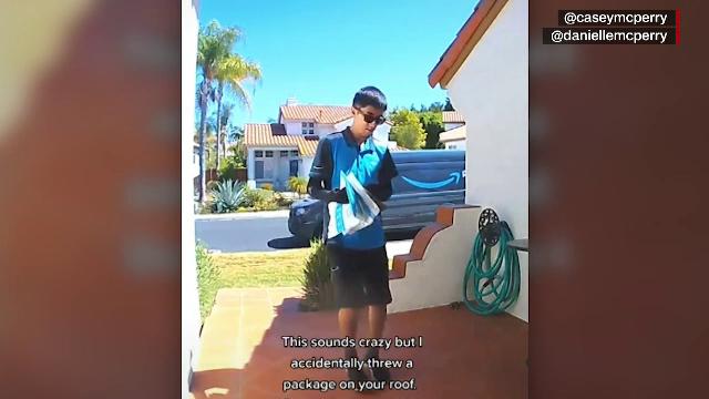 Un curier din SUA a livrat un colet pe acoperișul destinatarului. Momentul, surprins de camera de supraveghere