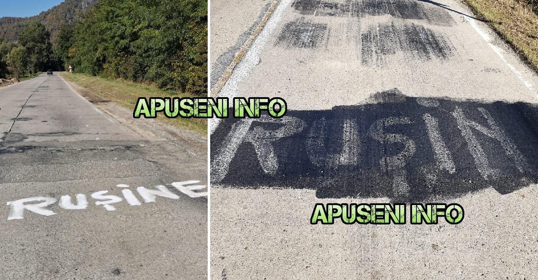 """Ce s-a întâmplat pe un drum din România, după ce oamenii au scris cu vopsea """"Rușine"""""""