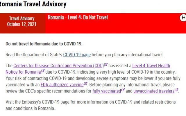 Guvernul SUA, avertizare de urgență pentru cetățenii americani: Nu călătoriți în România!