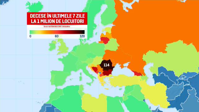 România, pe locul doi în lume la numărul de decese zilnice Covid. Doar Grenada ne întrece