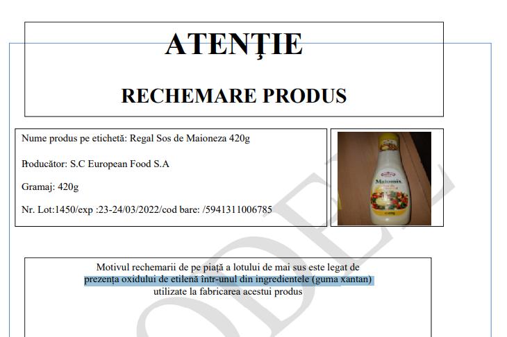 """Sosul de maioneză """"Regal"""" a fost retras de pe piață din cauza unei substanțe"""