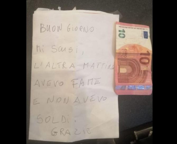 """""""Hoțul cinstit"""" care a impresionat Italia. A furat de foame, dar a doua zi a lăsat 10 euro și un bilet"""