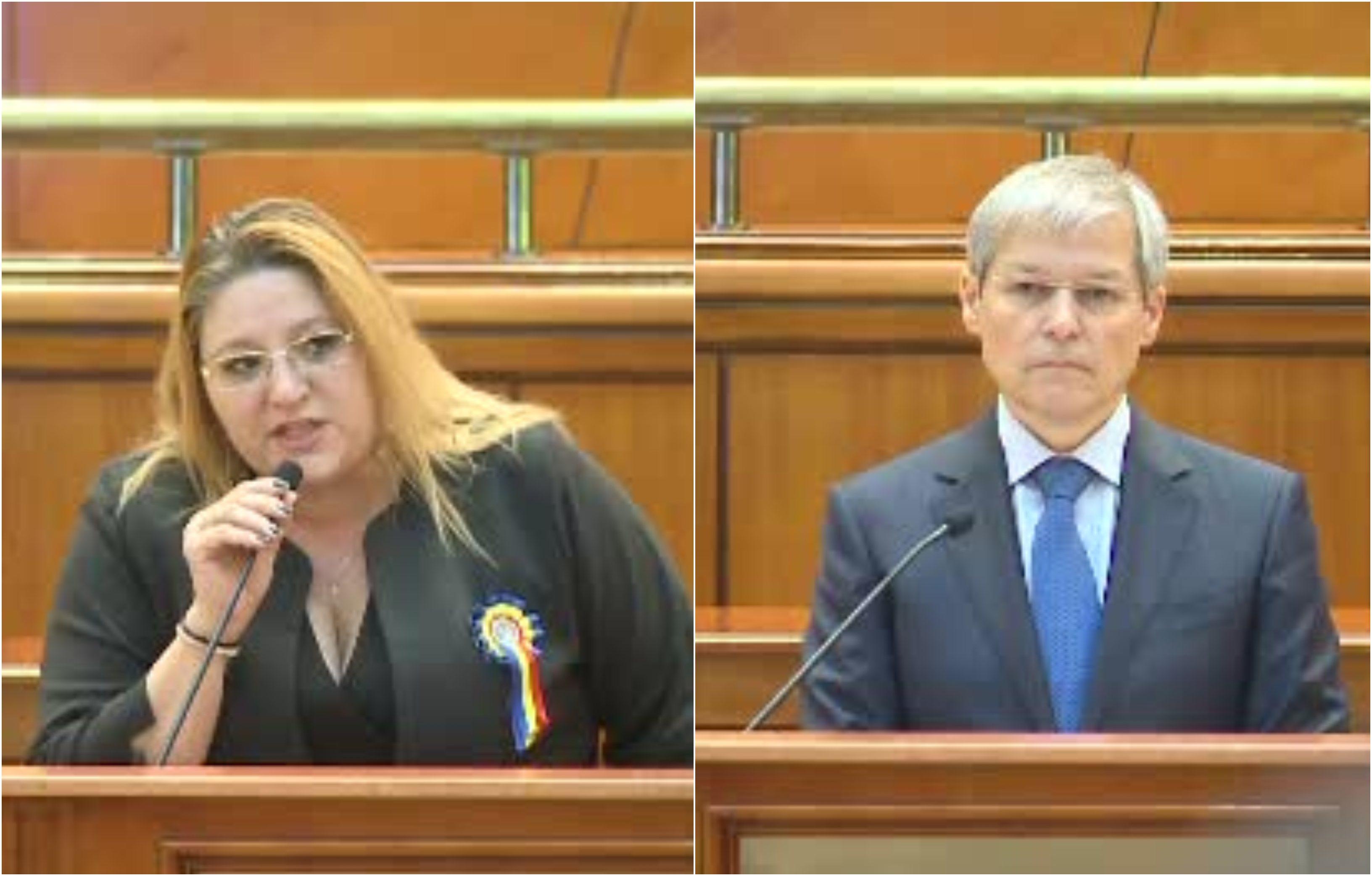 """Cioloș, enervat de Șoșoacă în Parlament: """"Sper că aveți puțin pe conștiință minciunile"""""""