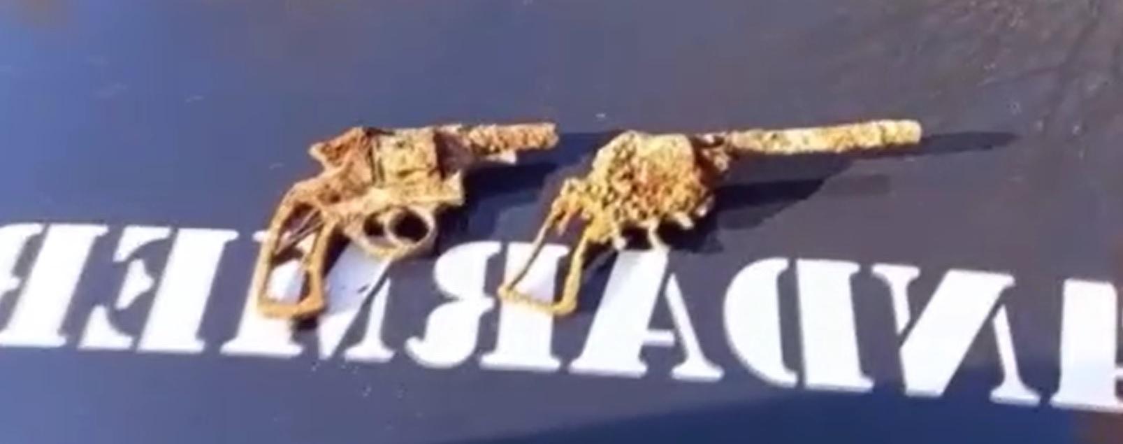 Două revolvere, descoperite de un jandarm din Bacău în timp ce lucra în grădina casei