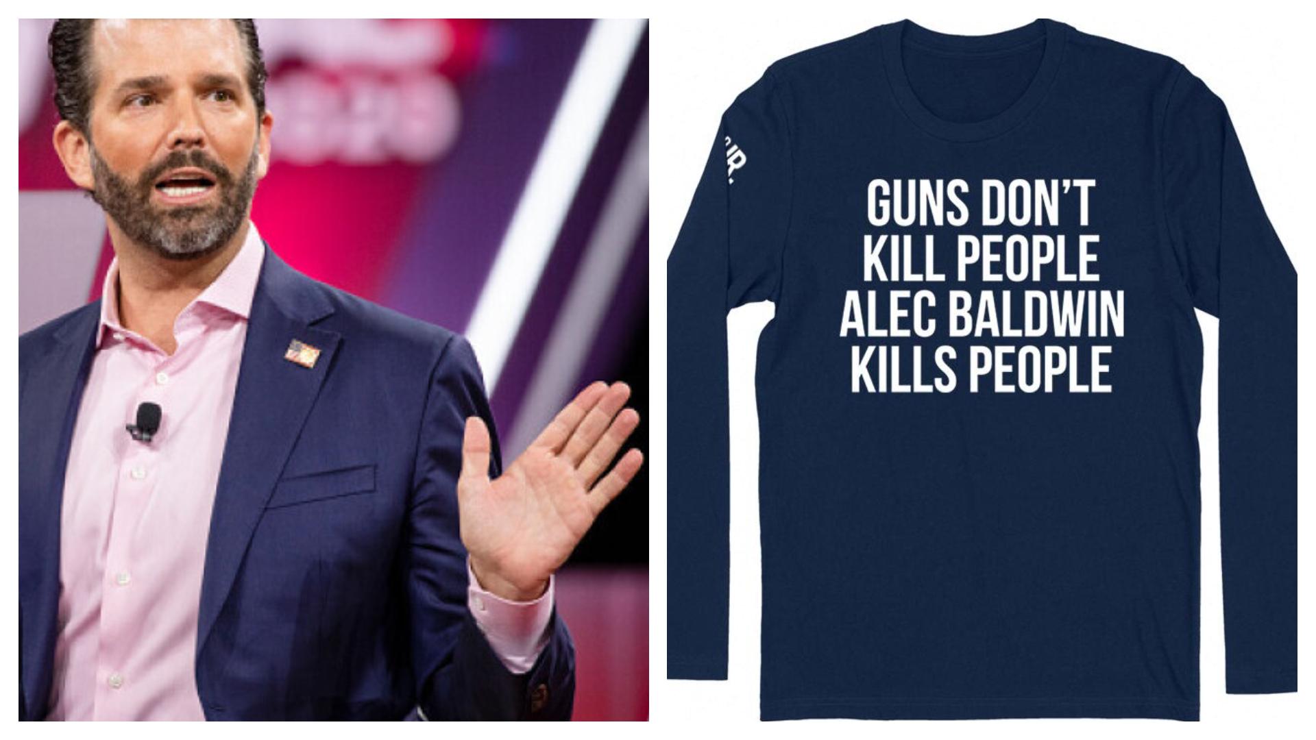 """Donald Trump Jr. vinde online tricouri cu mesajul: """"Armele nu ucid oameni, Alec Baldwin ucide oameni"""""""