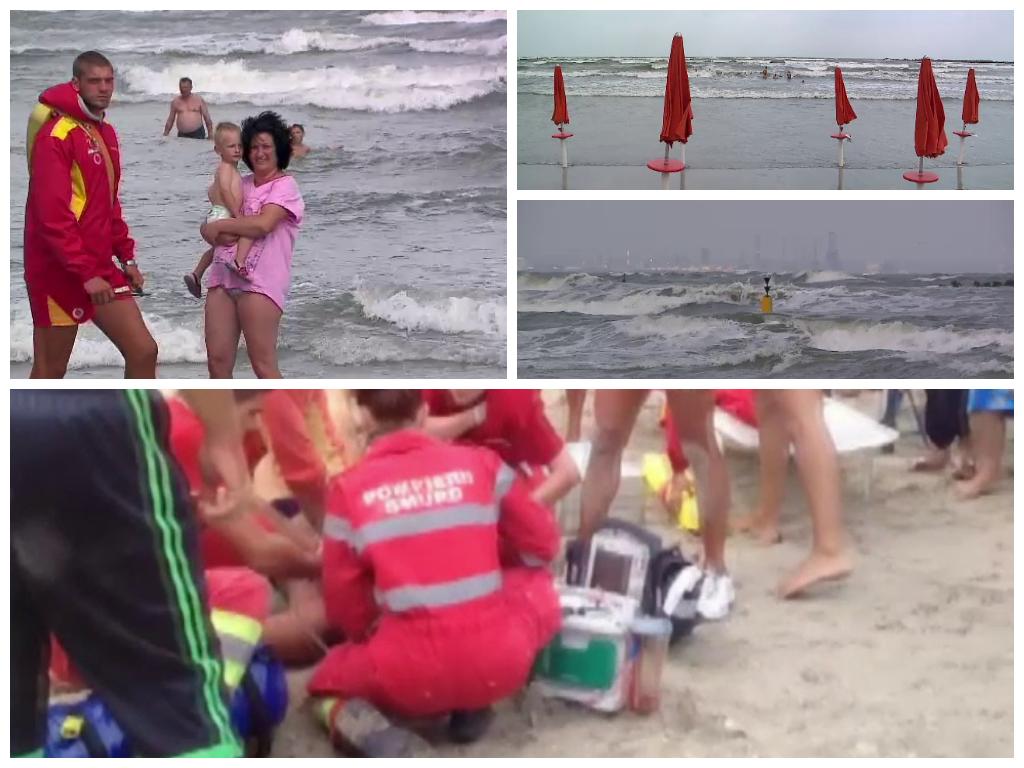 Cod galben de furtuna pe litoral. Turistii ignora steagul rosu arborat de salvamari. Trei au ajuns in stare grava la spital