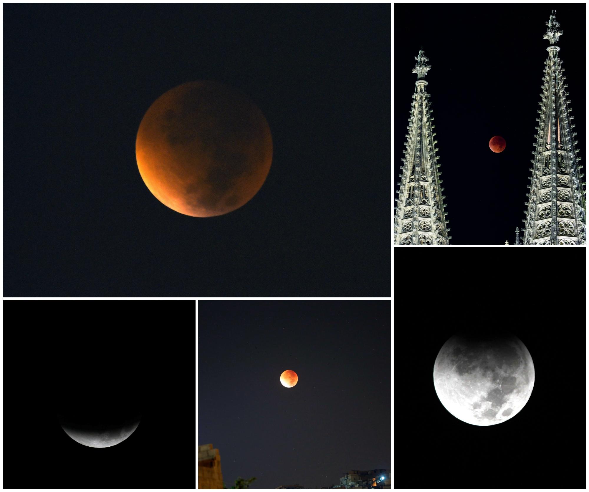 Cum s-a vazut eclipsa de Luna si Super Luna. GALERIE FOTO si VIDEO cu un eveniment astronomic foarte rar