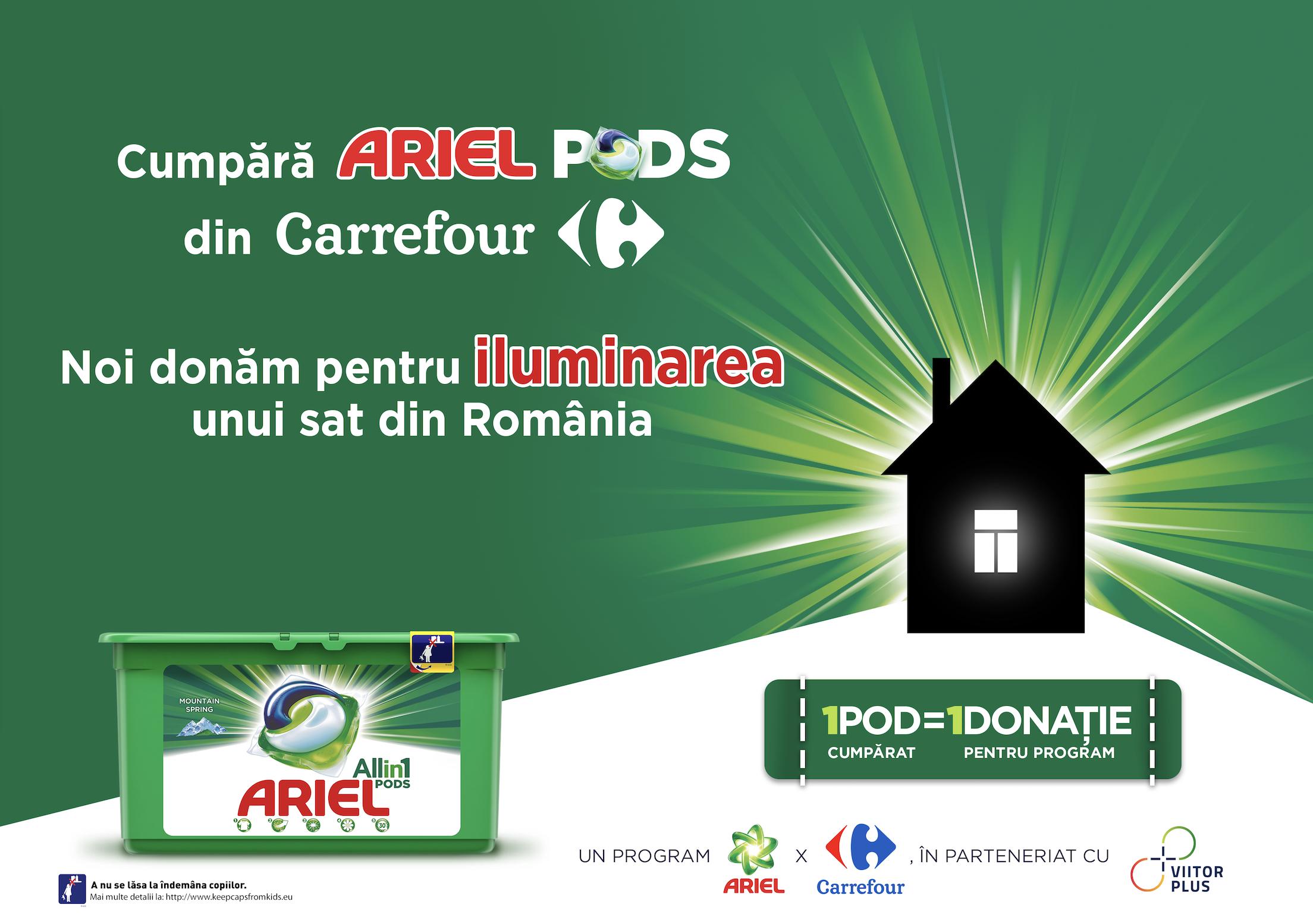 (P) POD cu POD luminezi o casă - o campanie Ariel și Carrefour, în parteneriat cu ViitorPlus