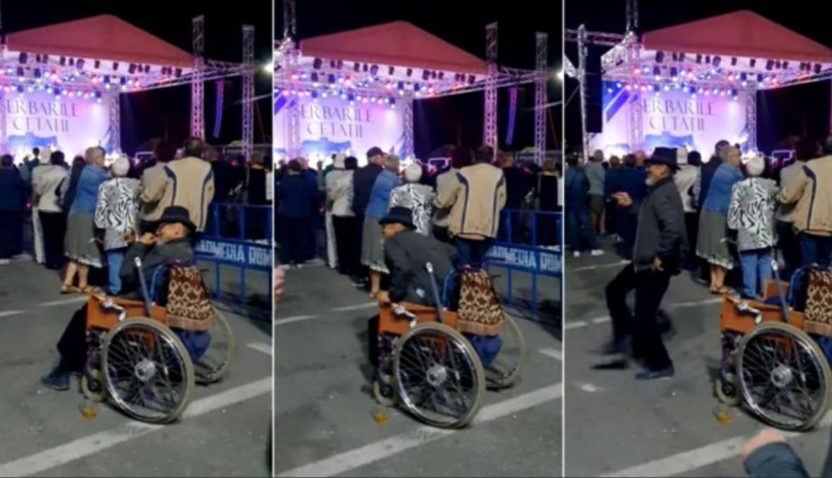 VIDEO. Momentul în care un bărbat se ridica din scaunul cu rotile și începe să danseze