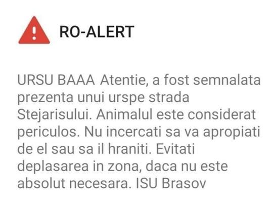 """Anchetă la ISU Brașov, după ce un mesaj Ro Alert a început cu """"URSU BĂĂĂ"""""""
