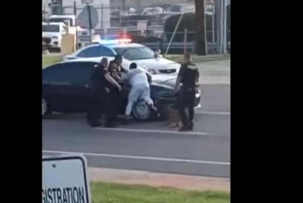 VIDEO Bărbat de culoare, mușcat agresiv de câinele poliției chiar sub ochii ofițerilor. Cum se scuză oamenii legii