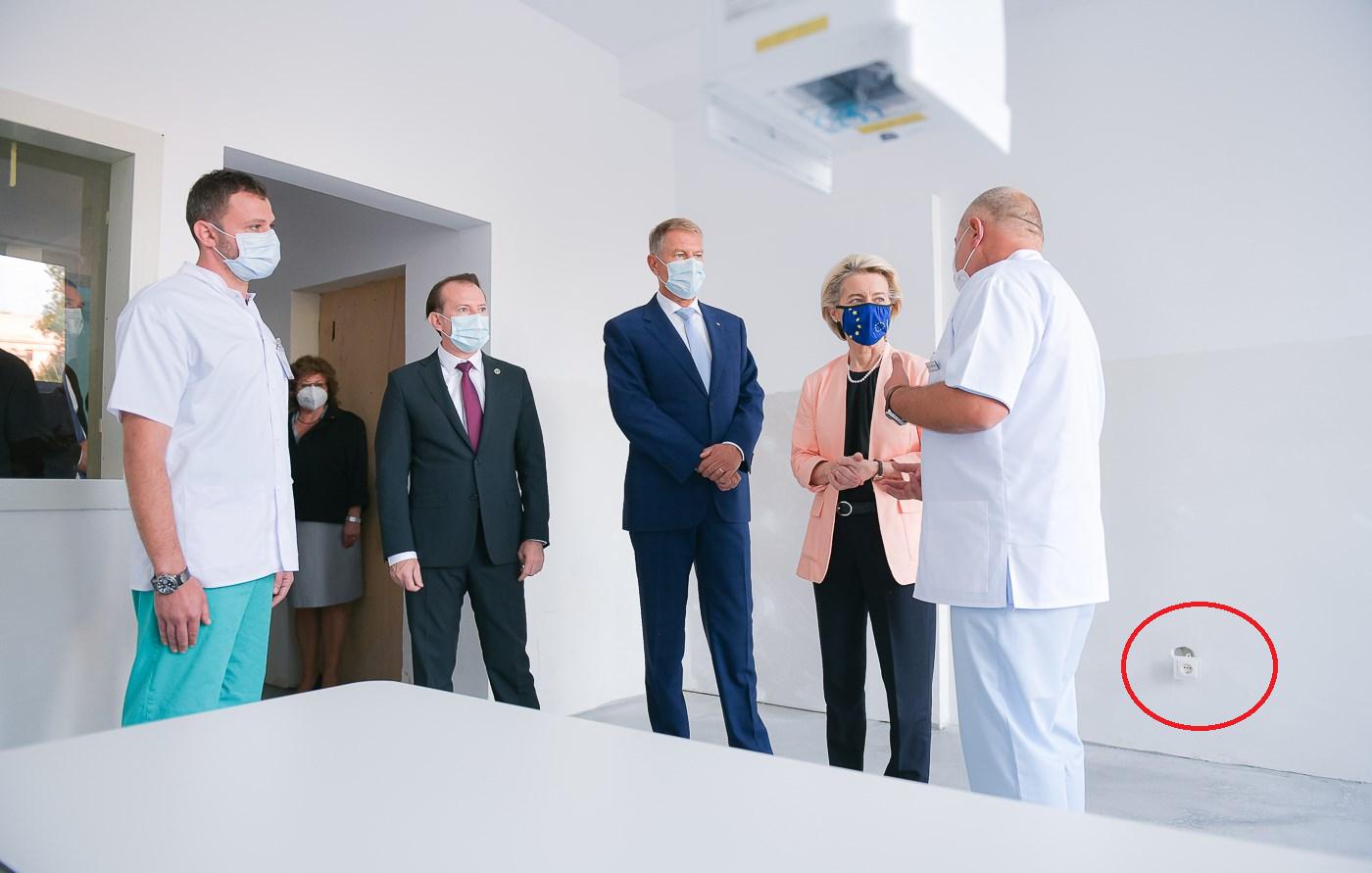 Glume pe seama unei prize defecte din salonul spitalului vizitat de șefa CE, Ursula von der Leyen. Explicația oficialilor